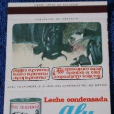 Cajas de Cerillas: LECHE CONDESADA ALY - ¡CAJA DE CERILLAS PLANCHA!. Lote 165430050