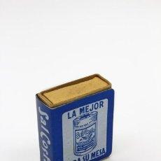 Cajas de Cerillas: SOPORTE PARA CAJA DE CERILLAS, PUBLICIDAD SAL COSTA, LA MEJOR PARA SU MESA. DE ALUMINIO ANODIZADO. Lote 168317452