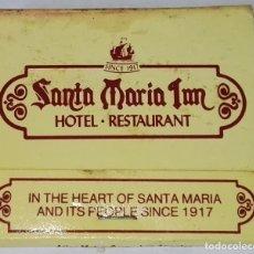 Cajas de Cerillas: ANTIGUA CARTERITA DE CERILLAS - SANTA MARÍA INN / CHANNEL ISLAND´S HOTEL PROPERTIES. Lote 172652782