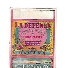 Cajas de Cerillas: CUBA. SIGLO XIX. CAJA DE CERILLAS. LA DEFENSA. VINCULO Nº 1. CALABAZAR. HABANA. VER. Lote 176054063