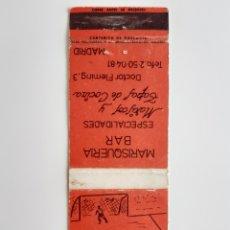 Cajas de Cerillas: CARTERITA CERILLAS - BAR GOL ( MADRID ). Lote 152764212