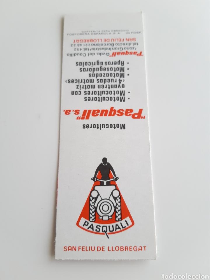 CARTERITA CERILLAS - MOTOCULTORES PASQUALI ( BARCELONA ). PERFECTA!! (Coleccionismo - Objetos para Fumar - Cajas de Cerillas)