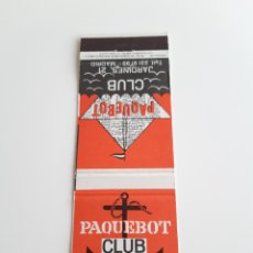 Cajas de Cerillas: CARTERITA CERILLAS - CLUB PAQUEBOT ( MADRID ). PERFECTA!!. Lote 150121049