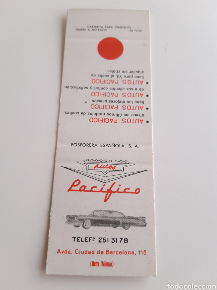 CERILLAS - AUTOS PACIFICO - PERFECTA!! (Coleccionismo - Objetos para Fumar - Cajas de Cerillas)