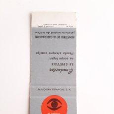 Cajas de Cerillas: CARTERITA CERILLAS - TRAFICO - EL PELIGRO LE ACECHA SEA PRUDENTE. Lote 156714473