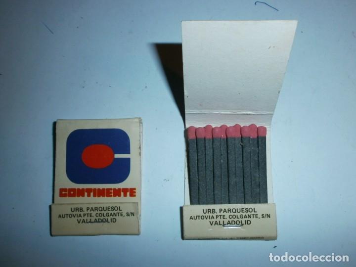 2 ANTIGUAS CAJAS DE CERILLAS CONTINENTE VALLADOLID COMPLETAS (Coleccionismo - Objetos para Fumar - Cajas de Cerillas)