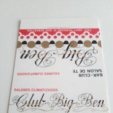 Cajas de Cerillas: CARTERITA CERILLAS - CLUB BIG BEN - BAR, SALON DE TE - SAN SEBASTIÁN. Lote 177888488