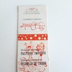 Cajas de Cerillas: CARTERITA CERILLAS - PASTORA IMPERIO Y GITANILLO DE TRIANA - TABLAO FLAMENCO EL DUENDE (MADRID). Lote 146937557