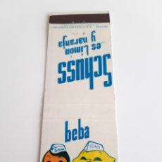Cajas de Cerillas: CARTERITA CERILLAS - SCHUSS - BEBIDA. PERFECTA!!. Lote 157248732