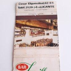 Cajas de Cerillas: CARTERITA CERILLAS - BAR JUMILLANO (ALICANTE). Lote 151496918