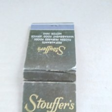 Cajas de Cerillas: ANTIGUA CAJA DE CERILLAS RESTAURANT STOUFFER'S NEW YORK. Lote 178935942