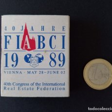 Cajas de Cerillas: CTC - CAJA DE CERILLAS VIENA 1989 DEL 40 ANIVERSARIO AGENTES INMOBILIARIOS FIABCI - VINTAGE. Lote 179204062