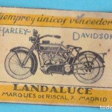 Boîtes d'Allumettes: HARLEY DAVIDSON. LANDALUCE, MADRID. CROMO PUBLICITARIO DE CAJA DE CERILLAS AÑOS 20. Lote 179398870