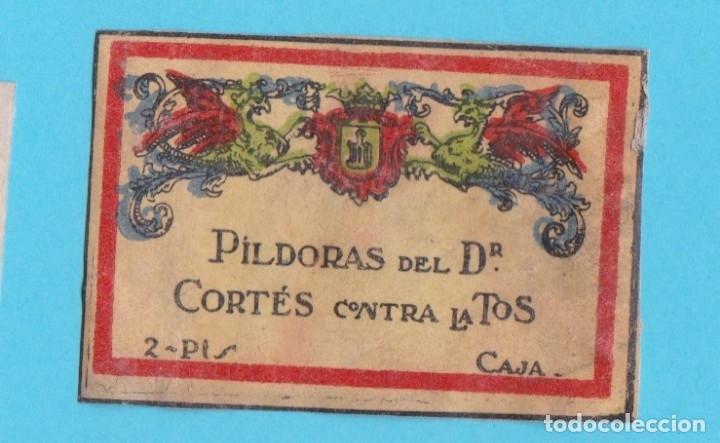 PÍLDORAS DEL DR. CORTÉS CONTRA LA TOS. CROMO PUBLICITARIO DE CAJA DE CERILLAS AÑOS 20 (Coleccionismo - Objetos para Fumar - Cajas de Cerillas)