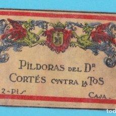 Cajas de Cerillas: PÍLDORAS DEL DR. CORTÉS CONTRA LA TOS. CROMO PUBLICITARIO DE CAJA DE CERILLAS AÑOS 20. Lote 179400688