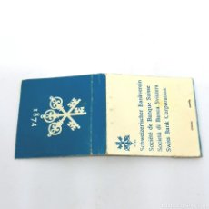 Cajas de Cerillas: (CAZ1) CAJA CERILLAS PUBLICITARIA - SWISS BANK CORPORATION 1872. Lote 179548398