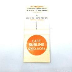 Cajas de Cerillas: (CAZ1) CAJA CERILLAS PUBLICITARIA - CAFE SUBLIME SIXTO AYORA. Lote 179549745