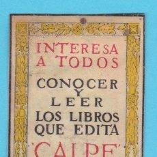 Cajas de Cerillas: EDITORIAL CALPE, MADRID. CROMO PUBLICITARIO DE CAJA DE CERILLAS. AÑOS 20. Lote 180453248