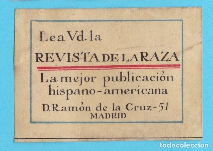 LEA VD. REVISTA DE LA RAZA, MADRID. CROMO PUBLICITARIO DE CAJA DE CERILLAS. AÑOS 20 (Coleccionismo - Objetos para Fumar - Cajas de Cerillas)