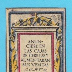 Cajas de Cerillas: CONCESIONARIA ICP, MADRID. CROMO PUBLICITARIO DE CAJA DE CERILLAS. AÑOS 20. Lote 180486387