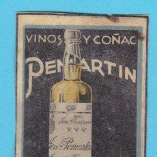 Cajas de Cerillas: VINOS Y COÑACS PEMARTIN. JEREZ. CROMO PUBLICITARIO DE CAJA DE CERILLAS. AÑOS 20. Lote 180842610