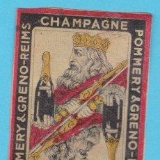 Cajas de Cerillas: CHAMPAGNE POMMERY & GRENO, REIMS. CROMO PUBLICITARIO DE CAJA DE CERILLAS. AÑOS 20. Lote 180843757