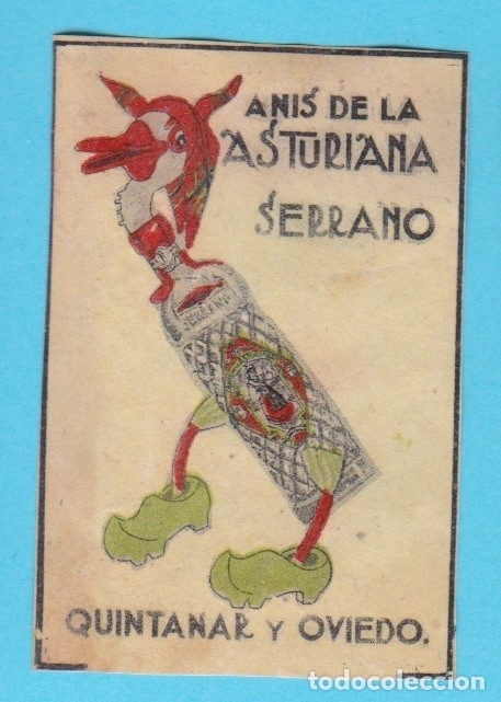 ANÍS DE LA ASTURIANA. SERRANO, QUINTANAR Y OVIEDO. CROMO PUBLICITARIO DE CAJA DE CERILLAS. AÑOS 20 (Coleccionismo - Objetos para Fumar - Cajas de Cerillas)