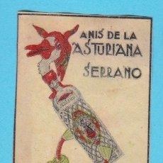 Cajas de Cerillas: ANÍS DE LA ASTURIANA. SERRANO, QUINTANAR Y OVIEDO. CROMO PUBLICITARIO DE CAJA DE CERILLAS. AÑOS 20. Lote 180844318