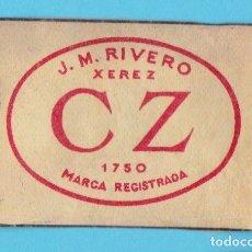Cajas de Cerillas: CZ J.M.RIVERO, XEREZ. JEREZ. CROMO PUBLICITARIO DE CAJA DE CERILLAS. AÑOS 20. Lote 180854546