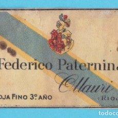 Cajas de Cerillas: FEDERICO PATERNINA. OLLAURI. RIOJA. CROMO PUBLICITARIO DE CAJA DE CERILLAS. AÑOS 20. Lote 180855775
