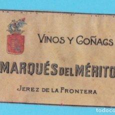 Cajas de Cerillas: VINOS Y COÑACS MARQUÉS DEL MÉRITO. JEREZ. CROMO PUBLICITARIO DE CAJA DE CERILLAS. AÑOS 20. Lote 180855916