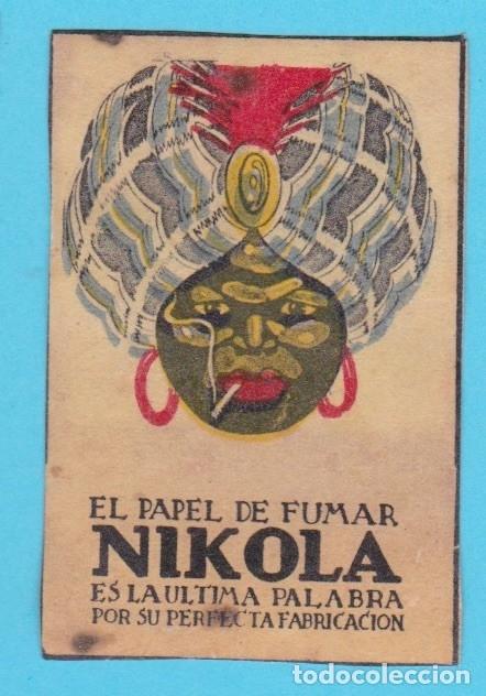 NIKOLA, PAPEL DE FUMAR. CROMO PUBLICITARIO DE CAJA DE CERILLAS. AÑOS 20 (Coleccionismo - Objetos para Fumar - Cajas de Cerillas)