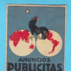Cajas de Cerillas: ANUNCIOS PUBLICITAS, BARCELONA. CROMO PUBLICITARIO DE CAJA DE CERILLAS. AÑOS 20. Lote 180927226