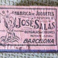 Cajas de Cerillas: CAJA DE CERILLAS CON PUBLICIDAD JOSÉ SALAS, FÁBRICA DE JUGUETES FOSFÓRICOS. NUEVA, SIN USO. AÑOS 30. Lote 181520482