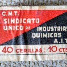 Cajas de Cerillas: CNT GUERRA CIVIL. CAJA DE CERILLAS. NUEVA, SIN USO.. Lote 181521143