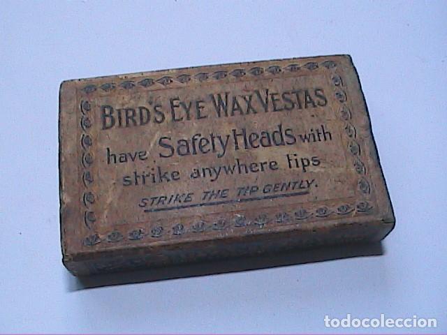 ANTIGUA CAJA DE CERILLAS BRITÁNICA BIRD'S EYE WAX VESTAS. 1861. BRYANT & MAY LTD. (Coleccionismo - Objetos para Fumar - Cajas de Cerillas)