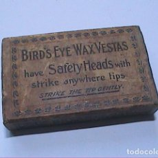 Cajas de Cerillas: ANTIGUA CAJA DE CERILLAS BRITÁNICA BIRD'S EYE WAX VESTAS. 1861. BRYANT & MAY LTD.. Lote 183470780