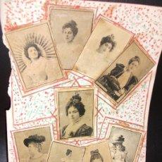 Cajas de Cerillas: 14 LAMINAS CON 108 FOTOTIPIAS DE CAJAS DE CERILLAS DE ARTISTAS MUJERES - SIGLO XIX THOMAS TABACO. Lote 183829660