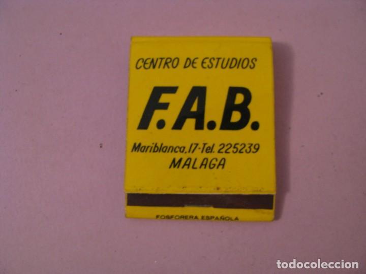 CARTERITA DE CERILLAS. CENTRO DE ESTUDIOS F.A.B. MÁLAGA. (Coleccionismo - Objetos para Fumar - Cajas de Cerillas)
