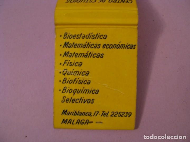 Cajas de Cerillas: CARTERITA DE CERILLAS. CENTRO DE ESTUDIOS F.A.B. MÁLAGA. - Foto 3 - 183856973
