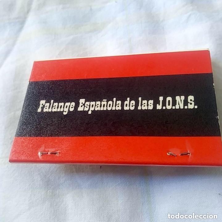 CAJA DE CERILLAS, FALANGE ESPAÑOLA DE LAS JONS, VER FOTOS (Coleccionismo - Objetos para Fumar - Cajas de Cerillas)