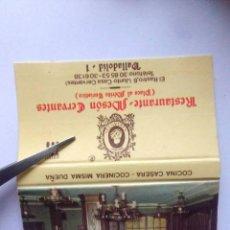 Cajas de Cerillas: CAJA DE CERILLAS COMPLETA RESTAURANTE MESON CERBANTES, VALLADOLID.. Lote 185779030