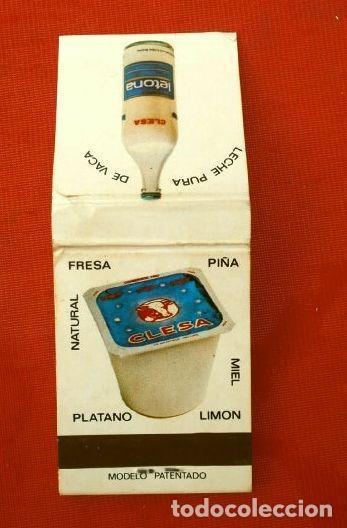 CAJA DE CERILLAS - PUBLICIDAD - LETONA - CLESA (AÑOS 70) LECHE LETONA - YOGURES CLESA (Coleccionismo - Objetos para Fumar - Cajas de Cerillas)