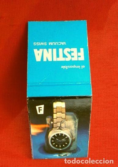 CAJA DE CERILLAS - PUBLICIDAD - FESTINA (AÑOS 70) RELOJES SUIZOS (MODELO ESPECIAL ESCASO) (Coleccionismo - Objetos para Fumar - Cajas de Cerillas)