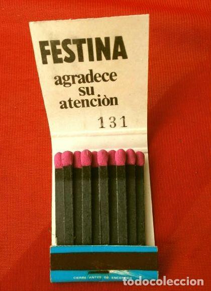 Cajas de Cerillas: Caja de cerillas - Publicidad - FESTINA (Años 70) Relojes Suizos (modelo especial escaso) - Foto 2 - 186441998