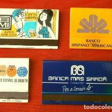 Cajas de Cerillas: LOTE 4 CAJAS DE CERILLAS - PUBLICIDAD BANCOS DESAPARECIDOS (HISPANO, MERCANTIL, MAS SARDA, ESPAÑOL. Lote 190857391
