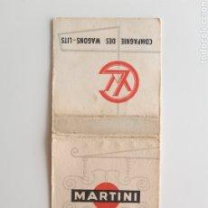 Cajas de Cerillas: CARTERITA CERILLAS - MARTINI - COMPAGNIE DES WAGONS LITS - REGIE FRANÇAISE. Lote 191036057