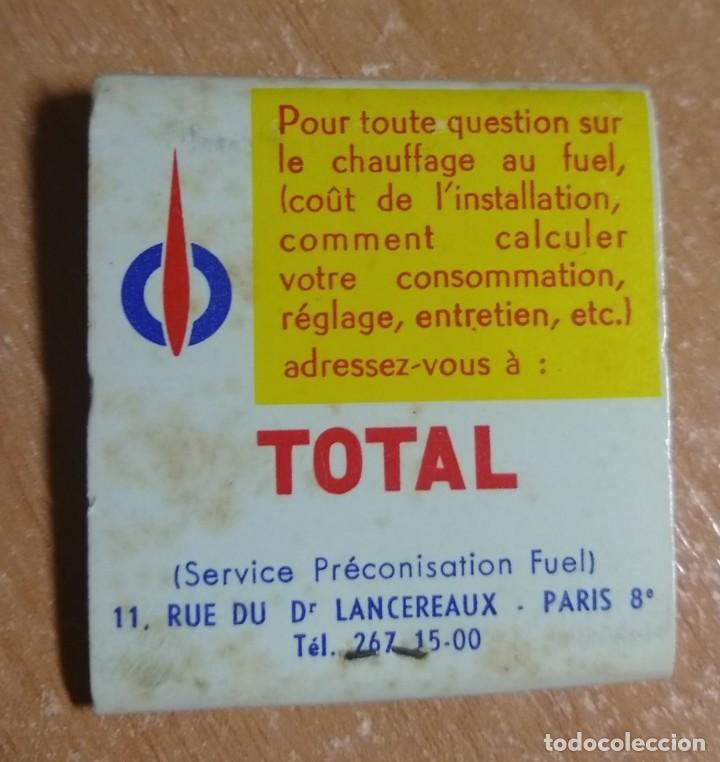 Cajas de Cerillas: CAJA DE CERILLAS PUBLICIDAD FUEL TOTAL (FRANCIA) - Foto 2 - 191306235