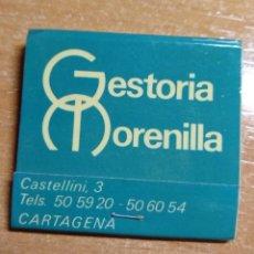 Cajas de Cerillas: ANTIGUA CAJA DE CERILLAS GESTORÍA MORENILLA (CARTAGENA). Lote 191320911