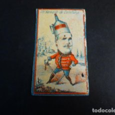 Caixas de Fósforos: FARSANTE DE CATALUÑA GUERRAS CARLISTAS POLITICA ENVUELTA CROMO CAJA DE CERILLAS SIGLO XIX. Lote 191569005